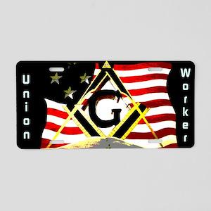 Union Worker Masonic Aluminum License Plate