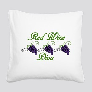 Red Wine Diva Square Canvas Pillow