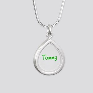 Tommy Glitter Gel Silver Teardrop Necklace