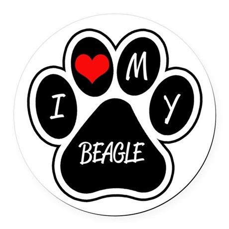 I Love My Beagle Round Car Magnet