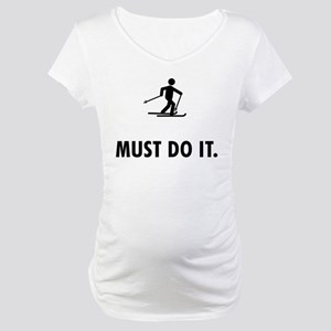 Cross Country Skiing Maternity T-Shirt