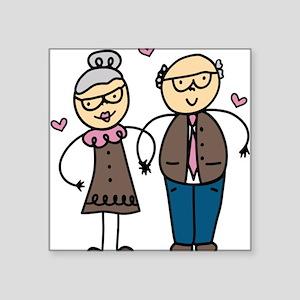 "Elderly Couple Square Sticker 3"" x 3"""