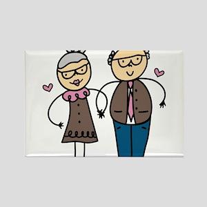 Elderly Couple Rectangle Magnet