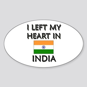 I Left My Heart In India Oval Sticker