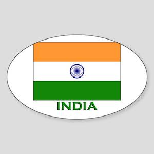 India Flag Gear Oval Sticker