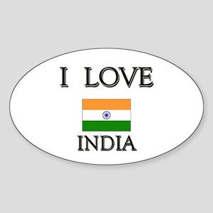 I Love India Oval Sticker
