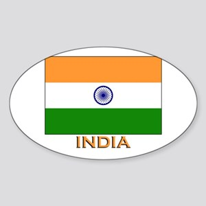 India Flag Merchandise Oval Sticker