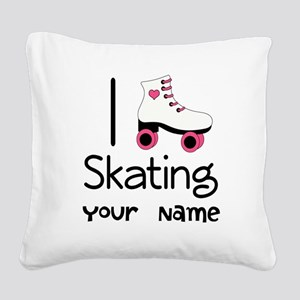 I Love Roller Skating Square Canvas Pillow