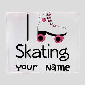 I Love Roller Skating Throw Blanket