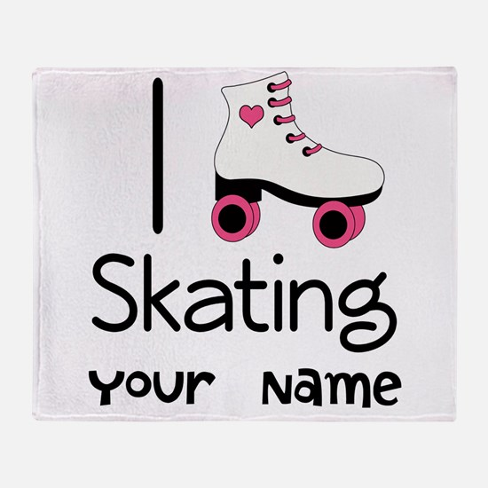 I Love Roller Skating Throw Blanket