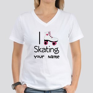 I Love Roller Skating Women's V-Neck T-Shirt