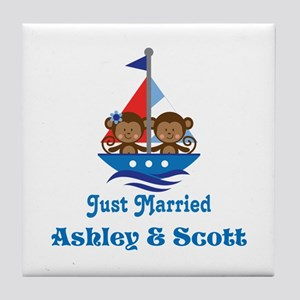 Personalized Just Married Monkeys Tile Coaster