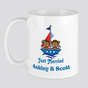 Personalized Just Married Monkeys Mug