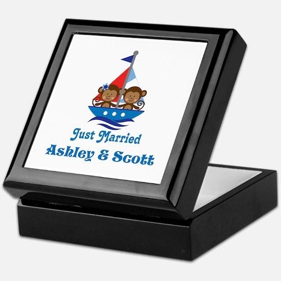 Personalized Just Married Monkeys Keepsake Box