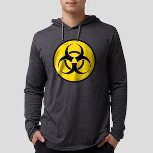 Yellow Biohazard Symbol Mens Hooded Shirt