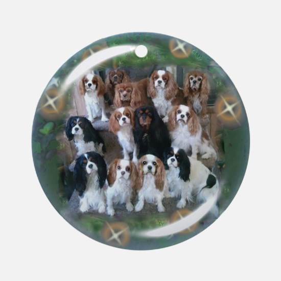 Cavalier King Charles Spaniel Group Ornament (Roun