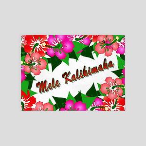 Mele Kalikimaka with flowers 5'x7'Area Rug