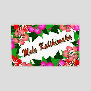 Mele Kalikimaka with flowers 3'x5' Area Rug