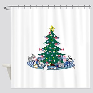 SchnauzerXmasCartoon Shower Curtain