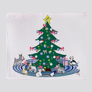 SchnauzerXmasCartoon Throw Blanket