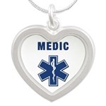 medic star of life.... Silver Heart Necklace