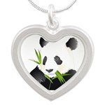 Panda Bear Silver Heart Necklace
