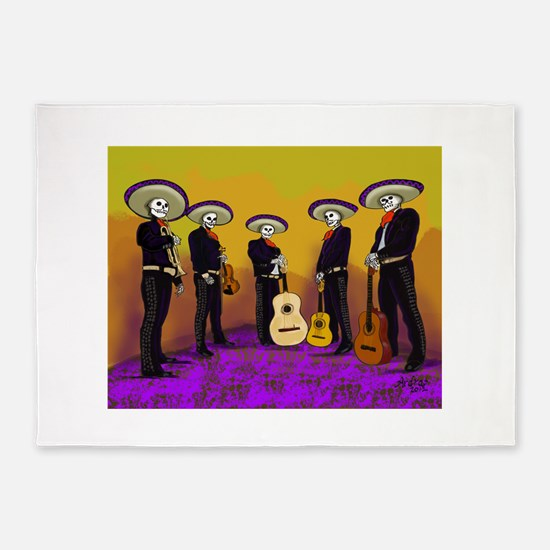 Mariachi Dia de los Muertos Band 5'x7'Area Rug