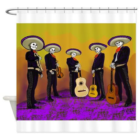 Mariachi Dia de los Muertos Band Shower Curtain