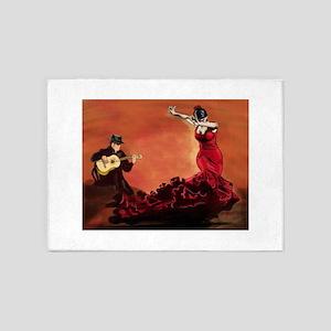Flamenco Dancer and Guitarist 5'x7'Area Rug