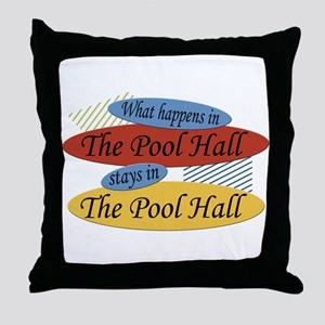 What Happens In The Pool Hall Throw Pillow