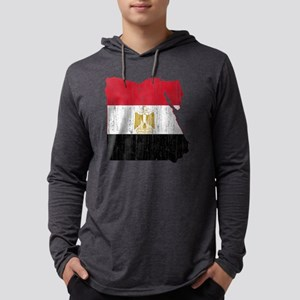 Egypt Flag and Map Aged Mens Hooded Shirt