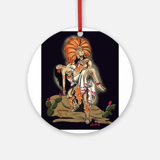 Aztec Warrior and Maiden Ornament (Round)