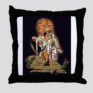 Aztec Warrior and Maiden Throw Pillow
