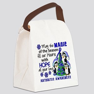 Holiday Penguins Arthritis Canvas Lunch Bag