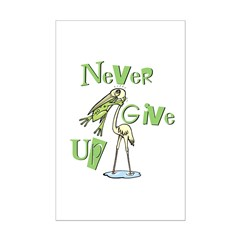 Never Give Up! Frog Choking Bird Posters
