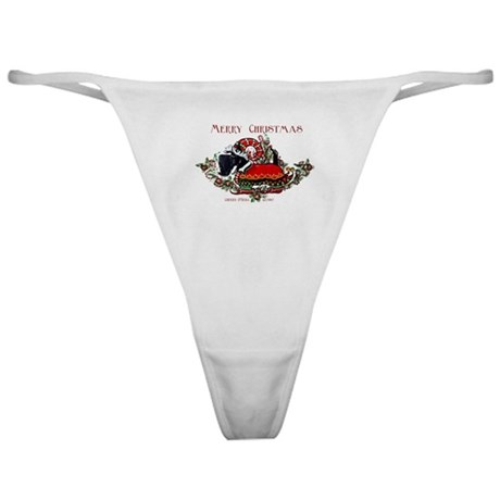 Scottish Terrier Christmas Elf Classic Thong