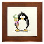 Ice Cream Penguin Framed Tile