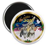 JoyWreath-2Schnauzers (uncr) Magnet