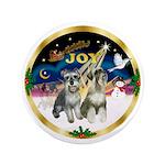 "JoyWreath-2Schnauzers (uncr) 3.5"" Button"