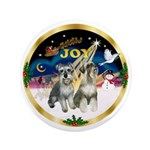 "JoyWreath-2Schnauzers (uncr) 3.5"" Button (100"