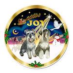 JoyWreath-2Schnauzers (uncr) Round Car Magnet
