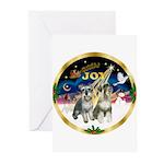 JoyWreath-2Schnauzers (uncr) Greeting Cards (Pk of