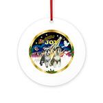 JoyWreath-2Schnauzers (uncr) Ornament (Round)