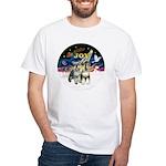 JoyWreath-2Schnauzers (uncr) White T-Shirt