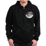 JoyWreath-2Schnauzers (uncr) Zip Hoodie (dark)