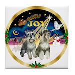 JoyWreath-2Schnauzers (uncr) Tile Coaster