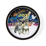 JoyWreath-2Schnauzers (uncr) Wall Clock
