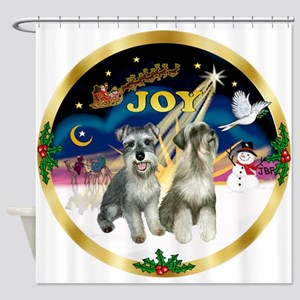 JoyWreath-2Schnauzers (uncr) Shower Curtain