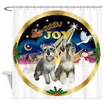 JoyWreath-2Schnauzers (uncr) Shower Curtain