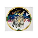 JoyWreath-2Schnauzers (uncr) Throw Blanket